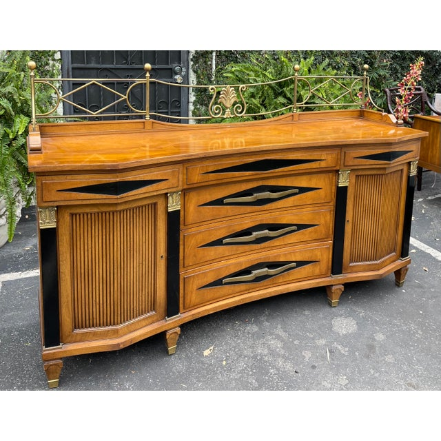 """Grosfeld House Hollywood Regency Empire Credenza Buffet Server. Height without brass structure is 34.5""""."""