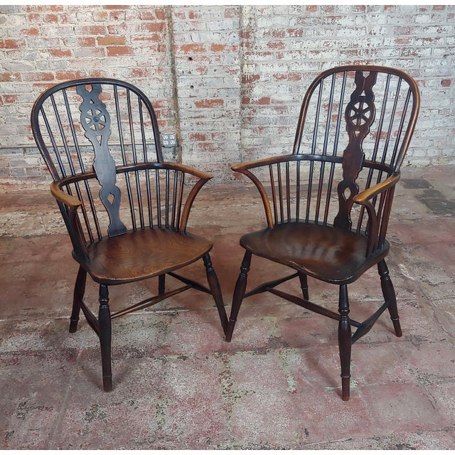"""18th century George III Windsor Chairs- Set of 6 circa 1780s Mix set -height of tallest 45 1/2""""- width 23""""-depth of seat..."""