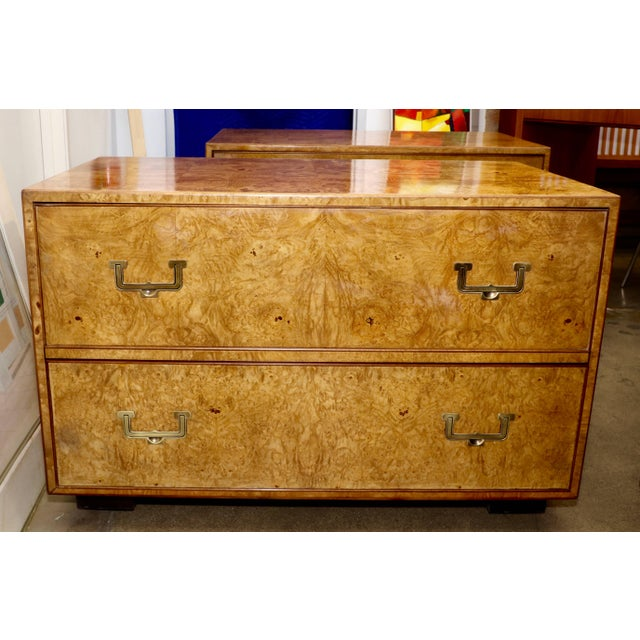 Campaign Mid Century Vintage Widdicomb Campaign Styles Nightstand in Burlwood- A Pair For Sale - Image 3 of 13