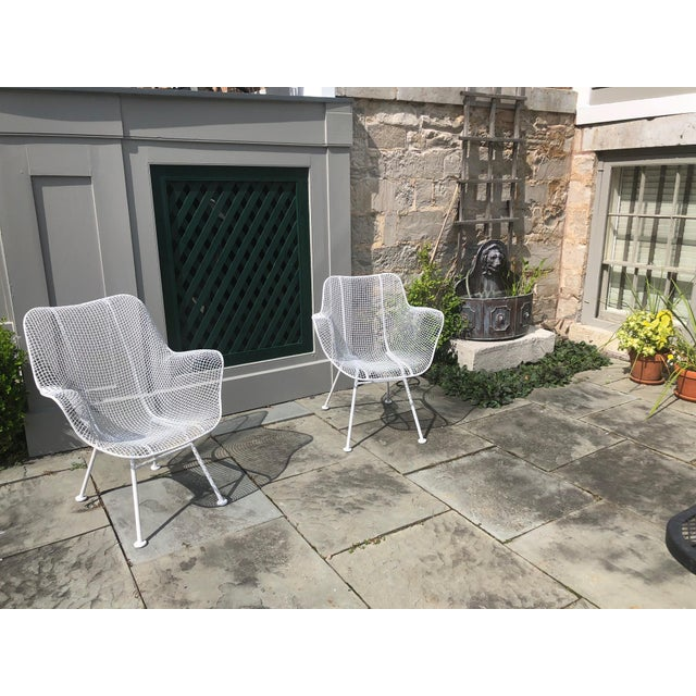 """1950s Woodard """"Sculptura"""" White Patio Chairs - a Pair For Sale - Image 14 of 14"""