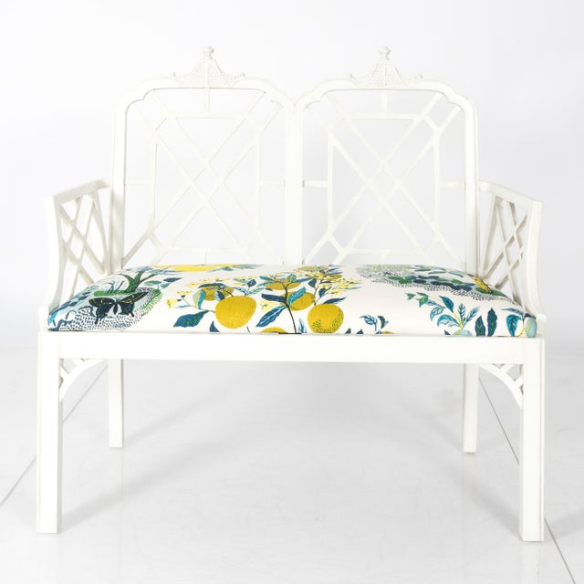 Asian White Chinoiserie Pagoda Motif Newly Upholstered Settee For Sale - Image 3 of 11