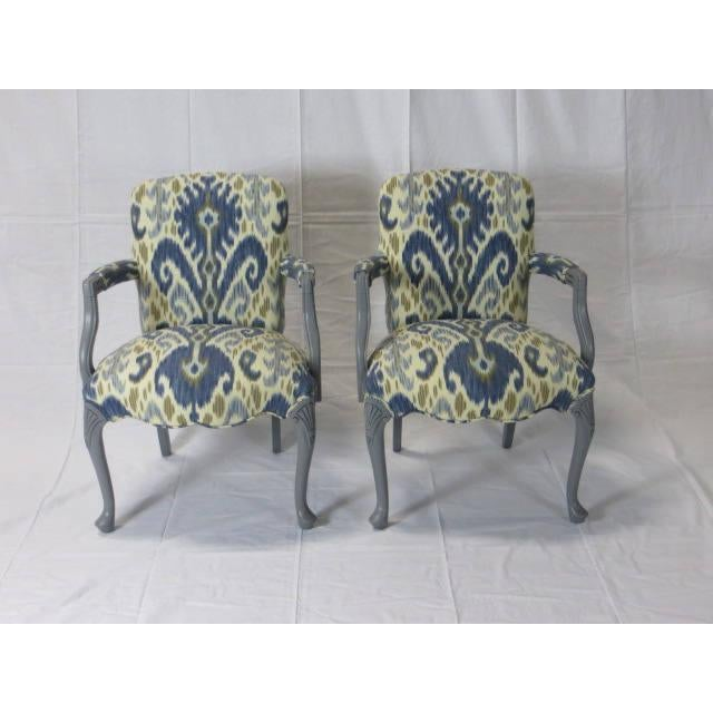 Gray Lacquered Cabriole Leg Chairs Reupholstered in Kravet - A Pair For Sale - Image 11 of 11