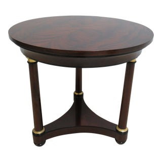 Council Furniture Neo Classical Flame Mahogany Round Pedestal End Table For Sale
