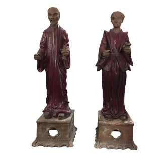 Chinese Terracotta Couple Statues on Stands - a Pair For Sale