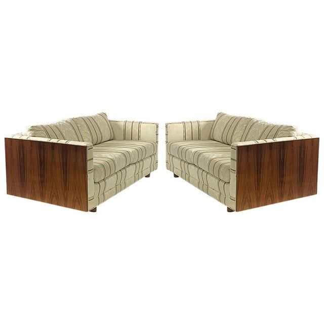 Milo Baughman Floating Cased Rosewood Tuxedo Sofas / Settees - a Pair For Sale - Image 13 of 13