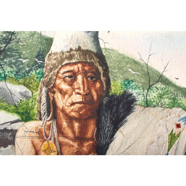 Americana Original William Sauts Netamuxwe Bock Watercolor For Sale - Image 3 of 7