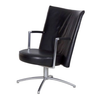 Danish Leather and Steel EJ70 'Partner' Club Arm Chair for Erik Jørgensen For Sale
