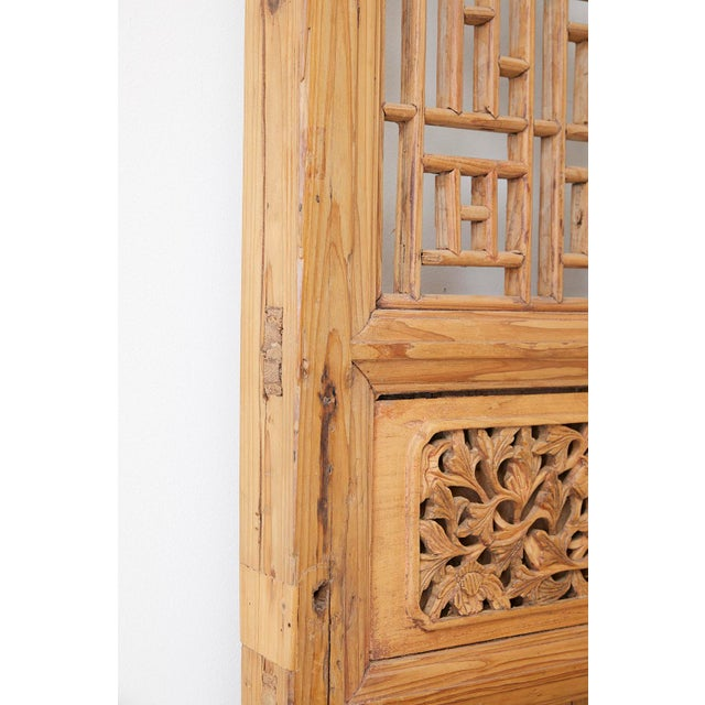 Wood Pair of Chinese Carved Doors With Lattice Windows For Sale - Image 7 of 13