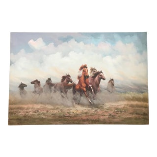 """Large Vintage """"Running Wild Horses"""" Painting by David Forbes For Sale"""