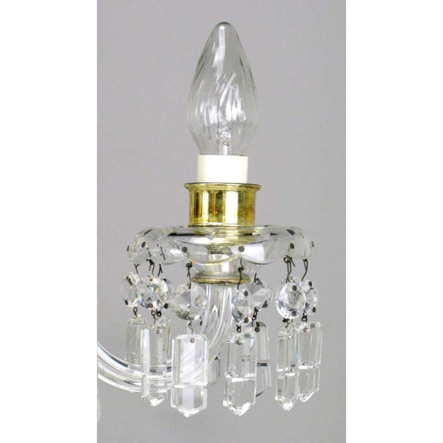 Gold Circa 1940s Lightolier Cut-Crystal Five Arm Chandelier For Sale - Image 8 of 9