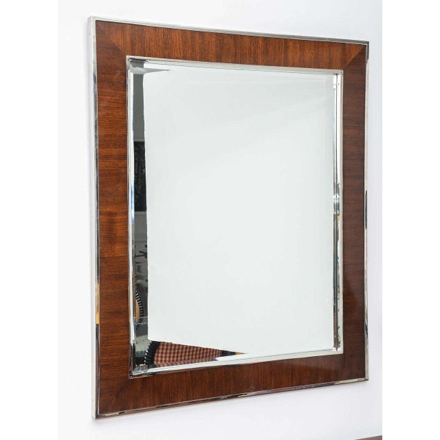 Karl Springer Style Mirror with Polished Chrome and Mahogany Frame, 1980s - Image 5 of 10
