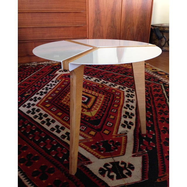 CB2 White Enamel & Bamboo Side Table - Image 6 of 11