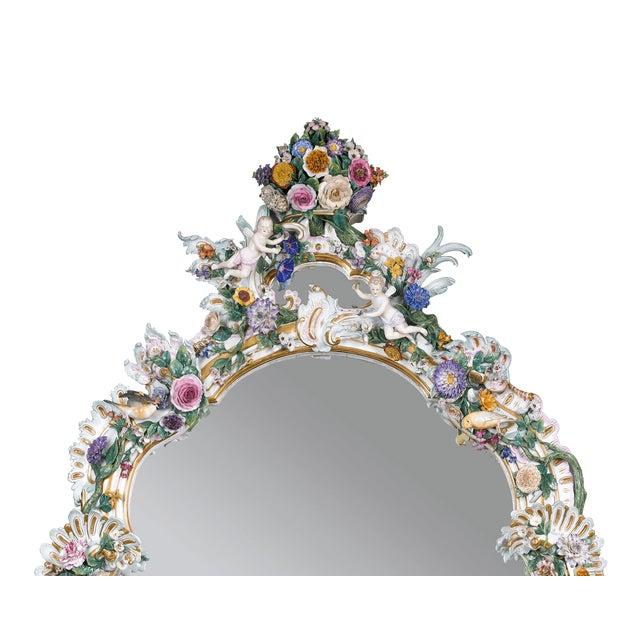 Rococo MEISSEN PORCELAIN ROCOCO MIRROR For Sale - Image 3 of 10