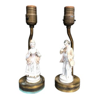 1930s Porcelain Figurine Lamp With Gold Filigree - a Pair For Sale