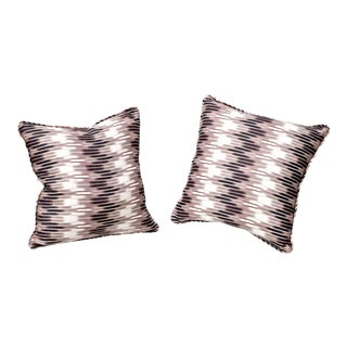 Ikat Pillows in Christopher Farr Cloth - A Pair For Sale