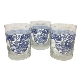 Blue & White Chinoiserie Glasses - Set of 3 For Sale
