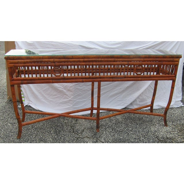 Chinoiserie Long Glass Topped Bamboo Sideboard Console Table For Sale In West Palm - Image 6 of 6