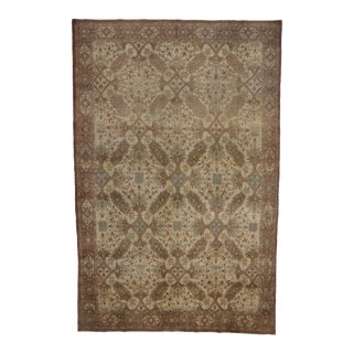 Antique Persian Tabriz Rug with Modern Design in Neutral Colors