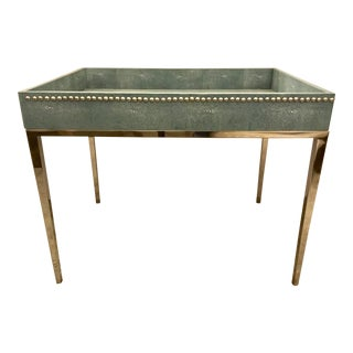Turquoise Shagreen Studded Tray Table For Sale