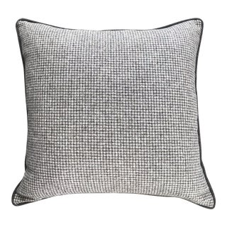 British Brown Houndstooth Wool Pillow With Contrast Piping For Sale