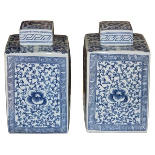 Blue & White Peony Jars - a Pair For Sale