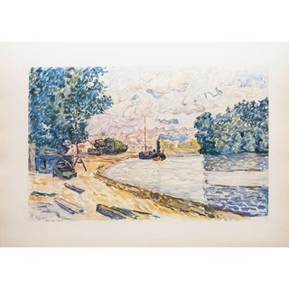 1959 Riverbank Lithograph Print by Paul Signac
