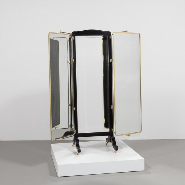 French French Brass and Ebonised Wood Mirrored Screen Circa 1890 For Sale - Image 3 of 9