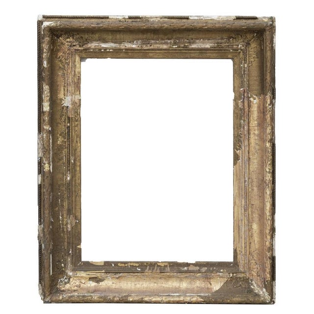 Art Deco Large Distressed Antique Gold Giltwood Wood and Plaster Art Frames - Set of Three For Sale - Image 3 of 6
