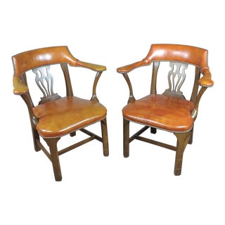 1940's Vintage English Leather Office Chairs -A Pair