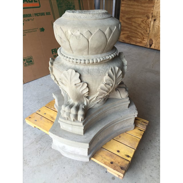 Carved Stone Claw Foot Pillar Base - Image 9 of 9