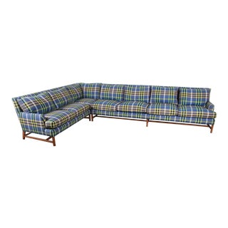 A. Rudin Down Filled Two-Piece Sectional Sofa in Plaid Upholstery For Sale