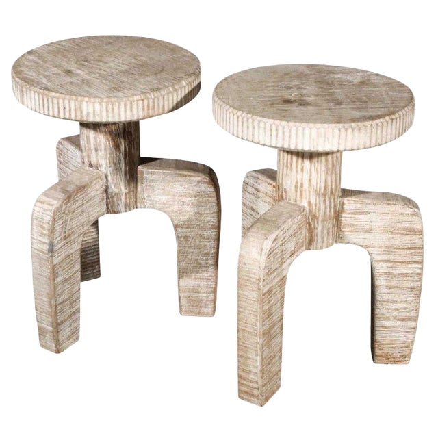 African Inspired Tribal Cerused Stools - a Pair For Sale