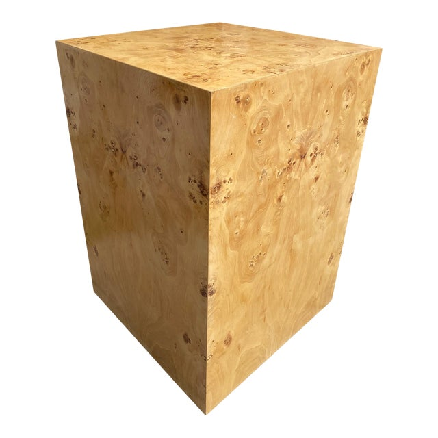 Organic Burl Wood Tall Side End Table Cube Pedestal For Sale