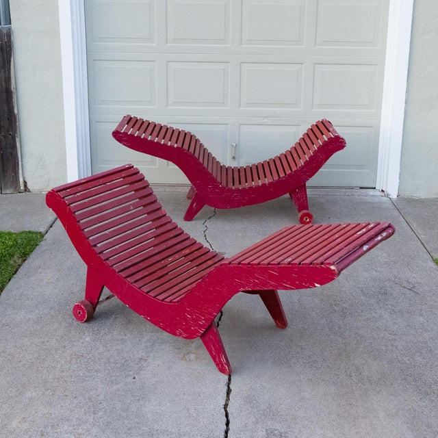 Klaus Grabe Klaus Grabe C5 Plywood Chaise Lounges - A Pair For Sale - Image 4 of 13