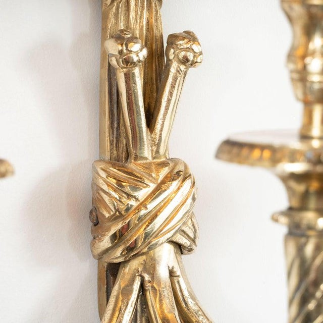 Metal Mid-Century Modern Neoclassical Silvered Bronze Sconces - a Pair For Sale - Image 7 of 9