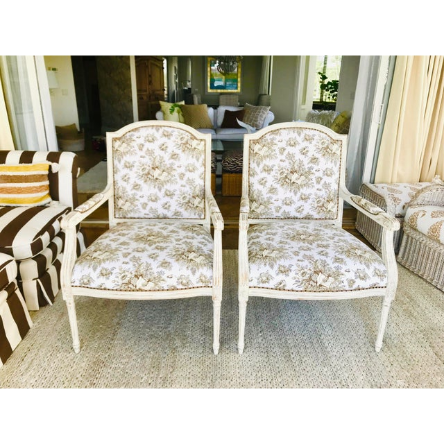 Tan 1990s Vintage Gustavian in Scalamandre Fabric Chic Distressed Side Chairs- a Pair For Sale - Image 8 of 8