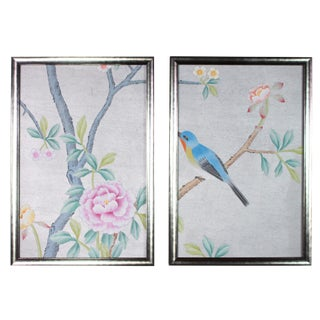 Metallic Silver Silk Chinoiserie Wallpaper Diptych - 2 Pieces For Sale