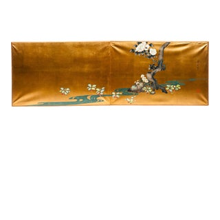 "Sung Tze-Chin 2-Wide Panel Camillia & Spear Flowers"" Hand-Painted Gold Foil Screen For Sale"