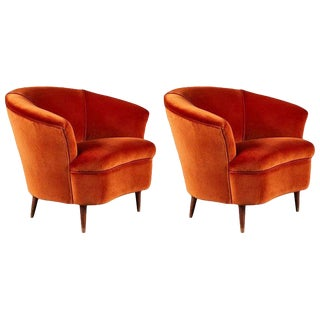 Pair of Petite Italian Curvilinear Lounge Chairs in Velvet For Sale