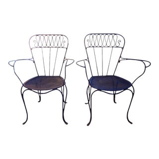 1940s French Wrought Iron Garden Chairs - a Pair For Sale