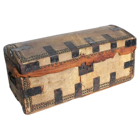 Mid 19th Century Antique Decorative Leather & Iron Trunk For Sale