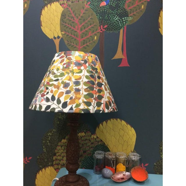 """Not Yet Made - Made To Order Confetti Leaves 12"""" Coolie Lamp Shade in Ash Grey For Sale - Image 5 of 5"""