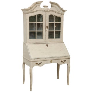 Antique Swedish Baroque Secretary Display Cabinet Late 18th Century For Sale