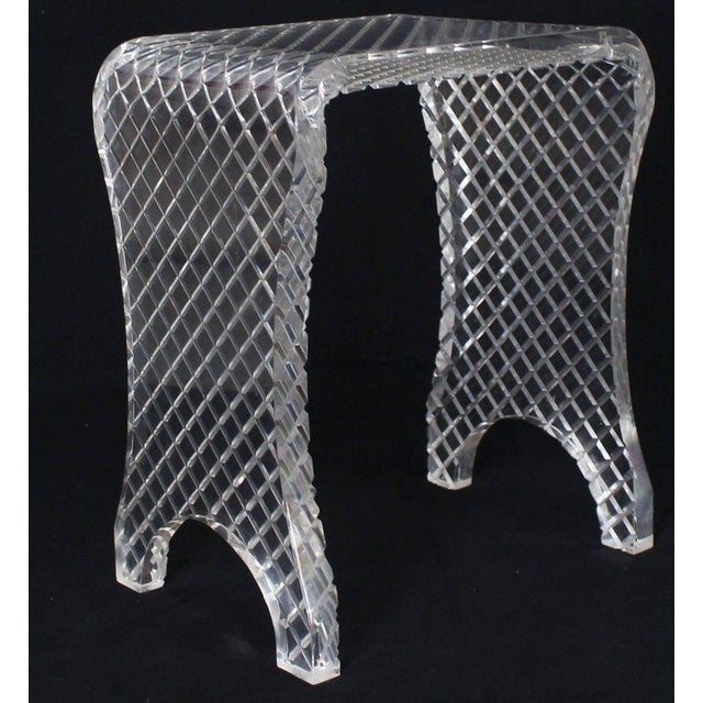 Plastic Diamond Cut Bent Lucite Piano Bench Stool For Sale - Image 7 of 8