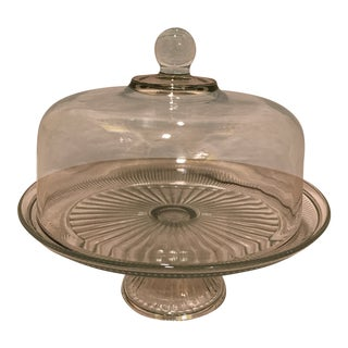 Clear Glass Cake Stand & Dome For Sale
