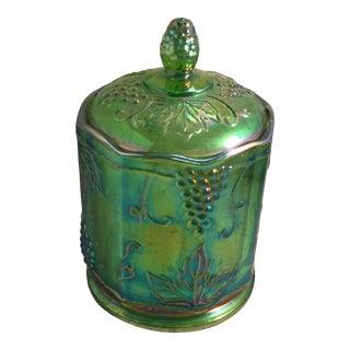 Indiana Carnival Green Grape Design Jar For Sale