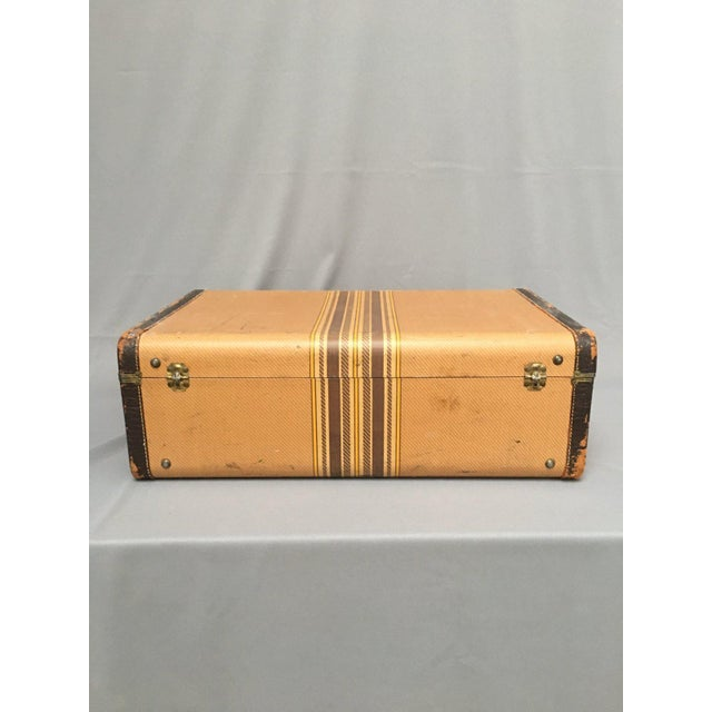 Large Vintage Herringbone Stripe Suitcase With Bakelite Handle For Sale - Image 10 of 11