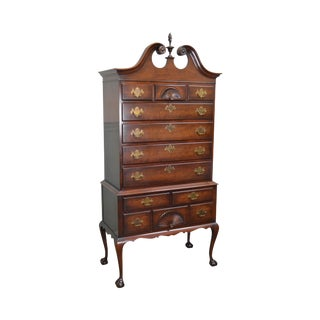 Kindel Vintage Mahogany Chippendale Style Ball & Claw Highboy For Sale