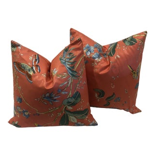 Custom Pillows in Vintage Coral Chintz- a Pair For Sale