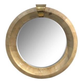 Karl Springer Circular Goatskin Mirror For Sale